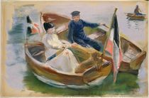 Two Boats with Flags, Wannsee by Max Liebermann