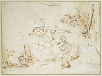 The Angel Appears to Hagar and Ishmael in the Wilderness von Rembrandt Harmenszoon van Rijn