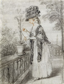 Lady on a Terrace Tending a Carnation Plant by John Raphael Smith