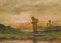 Evening Landscape with a Herd of Cattle near Jouy-en-Josas by Mihaly Munkacsy