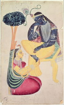 The God Krishna with his mortal love by Indian School