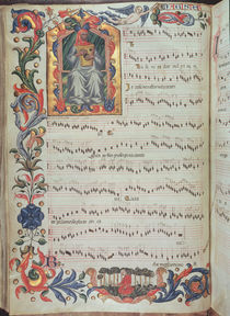 Page of musical notation with historiated initial von Italian School