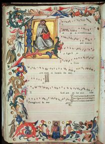 Page of musical notation with a historiated initial von Italian School