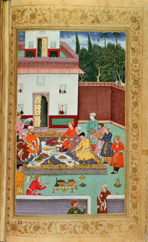 OR 3714 f.260v Mughal Emperor Feasting in a Courtyard by Indian School