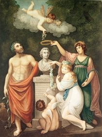 Aesculapius, Flora, Ceres and Cupid Honouring the Bust of Linnaeus von English School