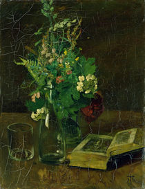 Still Life with a Bunch of Flowers and a Bible von Hans Thoma