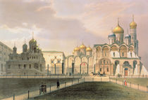 View of the Cathedrals in the Moscow Kremlin by Louis Jules Arnout