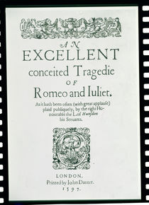 Title Page from 'Romeo and Juliet' by William Shakespeare 1597 by English School