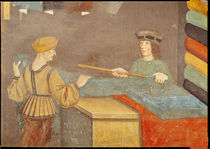 A Cloth Merchant Measuring Cloth von Italian School