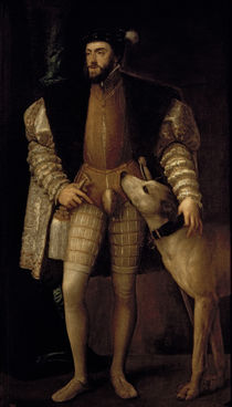 Charles V Holy Roman Emperor and King of Spain with his Dog by Titian