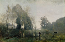 Morning at Ville-d'Avray or by Jean Baptiste Camille Corot