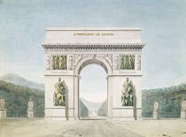 Design for the Arc de Triomphe with a wooded background by Jean Francois Therese Chalgrin