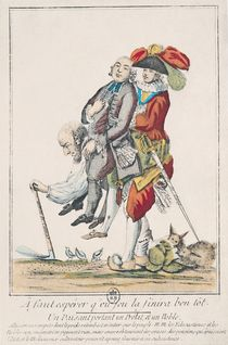 The Game Must End Soon, a Peasant Carrying a Clergyman and a Nobleman von French School