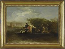 The Fishing Party - a Party of Gentlemen fishing from a Punt von Benjamin West