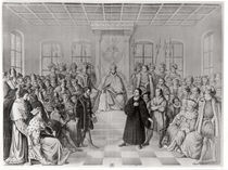 Martin Luther in front of Charles V at the Diet of Worms von German School