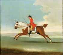 Galloping Racehorse and mounted Jockey in Red by James Seymour