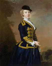 Portrait of Nancy Fortesque wearing a dark blue riding habit von Thomas Hudson