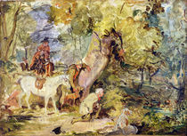 A Sketch for 'Foresters Stalking Deer' by John Frederick Lewis