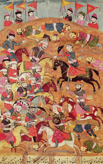 Battle between the Persians and the Turanians by Persian School