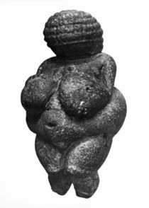 The Venus of Willendorf, side view of female figurine by Prehistoric