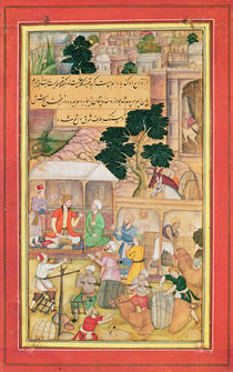 Emperor Babur in conversation with an old man by Indian School