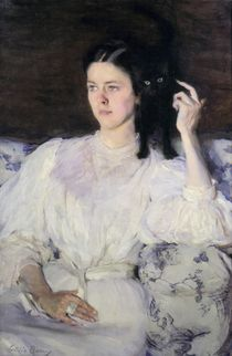 Sita and Sarita, or Young Girl with a Cat von Cecilia Beaux
