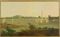 Pinnace Sailing Down the Ganges past Monghyr Fort by Thomas Daniell