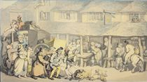 The Arrival of the Stage Coach at the Sun Inn by Thomas Rowlandson