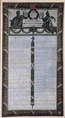 Table of the Declaration of the Rights of Man and the Citizen by French School