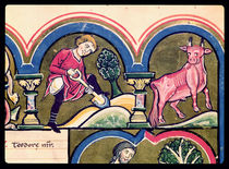 April: A Peasant Digging, from the Psalter of St. Elizabeth by French School