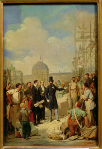 Study for Napoleon III Visiting the Works at the Louvre von Nicolas Louis Francois Gosse