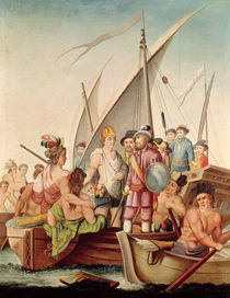 The Arrival of Hernando Cortes in Mexico by Spanish School