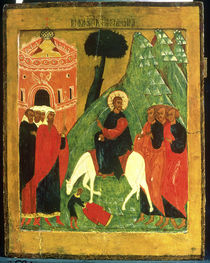 Icon depicting Christ's Entry into Jerusalem by Russian School