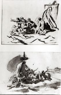 Two sketches for The Raft of the Medusa by Theodore Gericault