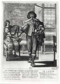 Courtier following the last royal edict in 1633 and his lacquey von Abraham Bosse