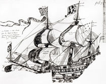 Jacques Cartier's ship, from 'Rarete des Indes sauvages' by French School