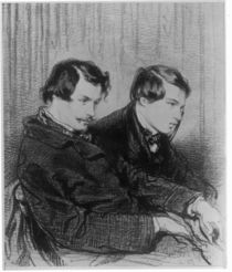 Edmond de Goncourt and Jules de Goncourt in a box at the theatre by Paul Gavarni