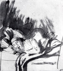 Sick woman in a bed, maybe Saskia by Rembrandt Harmenszoon van Rijn