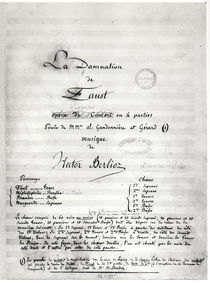 Title page of 'La Damnation de Faust' by Hector Berlioz 1846 by French School