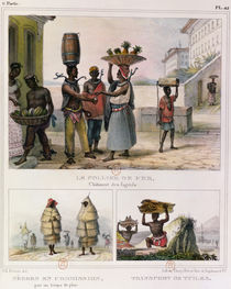 The Iron Collar, Negroes Working in the Rain and Carrying Tiles von Jean Baptiste Debret