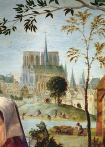 Shepherd with flock and bathers in the River Seine by French School