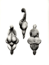Three views of a 'Venus' statuette by Prehistoric
