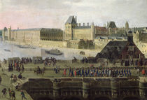 View of the Pont-Neuf and the River Seine looking downstream von Flemish School