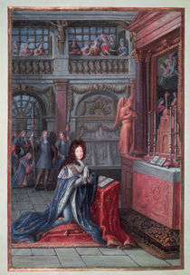 Frontispiece of the 'Hours of Louis XIV' depicting Louis XIV at Prayer by French School