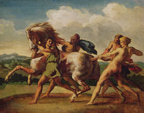 Slaves stopping a horse, study for 'The Race of the Barbarian Horses' von Theodore Gericault