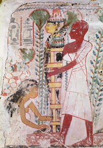 Preparing a mummy for a purification ceremony by Egyptian 18th Dynasty