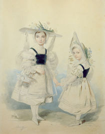 Portrait of the Grand Princesses Olga and Alexandra in Fancy Dress by Pyotr Fyodorovich Sokolov