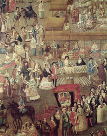 Plaza Mayor in Mexico, detail of the Market by Mexican School
