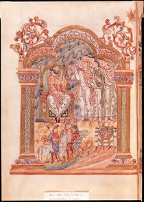 Ms 274 fol.36v The Magi Visiting King Herod by English School
