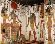 Nefertari is brought before the god Re-Horakhty by Horus by Egyptian 19th Dynasty